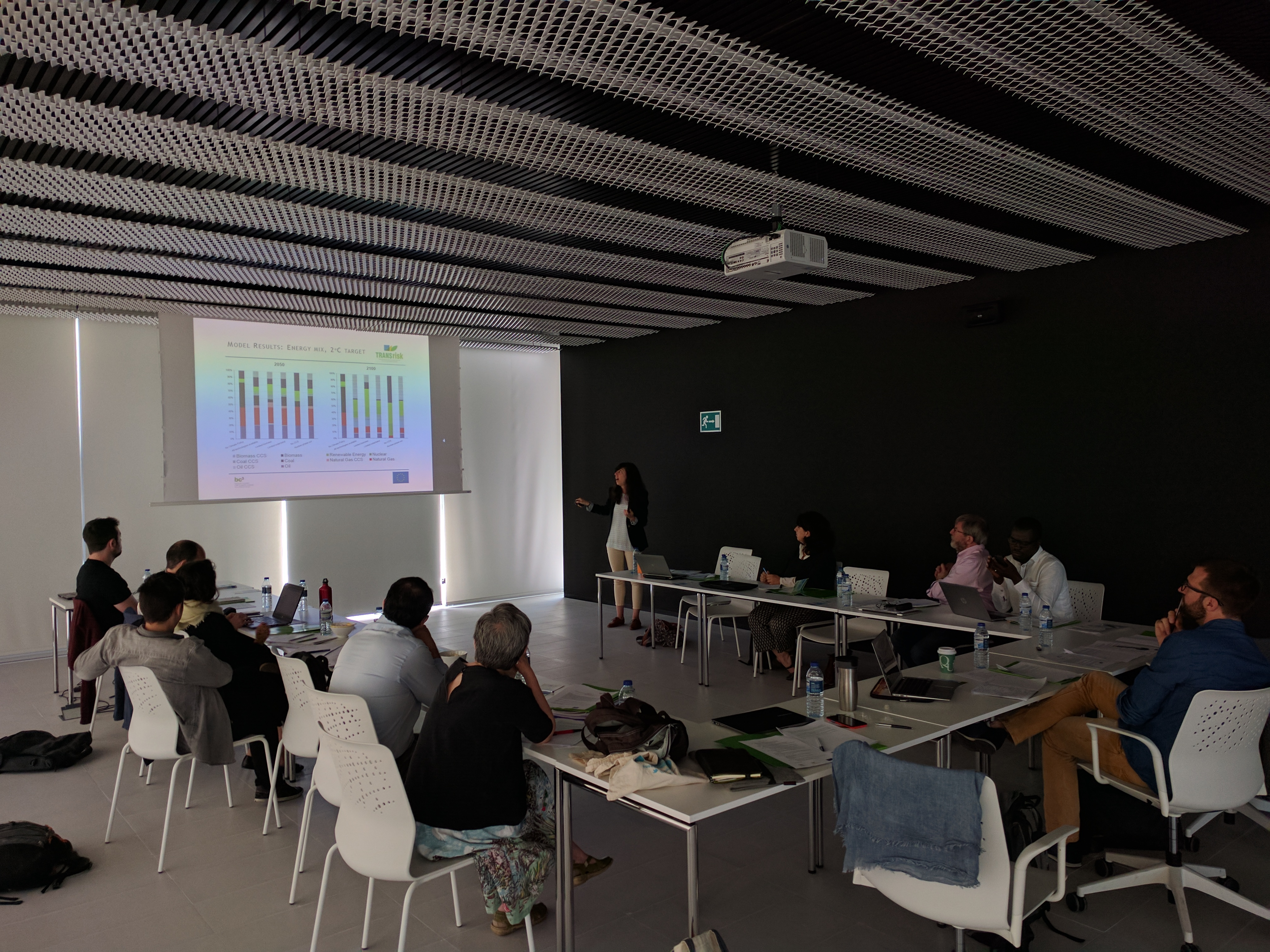 Cristina Pizarro-Irizar (BC3) presenting the required energy mix to achieve the 2 degrees target