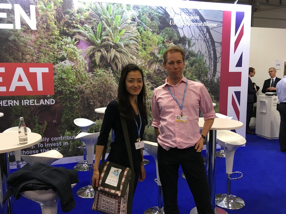Jenny Lieu and Oscar van Vliet during the COP23 side event at UK pavillion