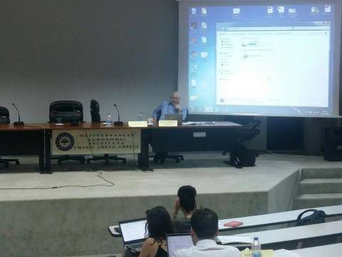 Assoc Prof Alexandros Flamos from TEES_Lab - UPRC chairing Workshop in Energy & Climate Policies II. Energy technologies, systems and carriers