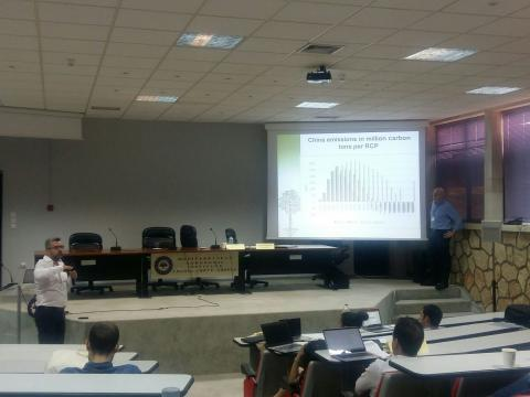 Athanasios Dagoumas presenting interesting assessment of energy carriers and technology options on the Representative Concentration Pathways (RCPs) at TRANSrisk session at HELORS2018