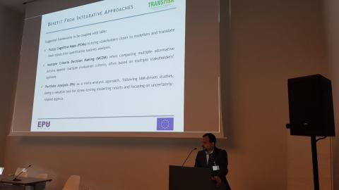 Haris doukas from NTUA presenting the new scientific framework for supporting climate policy making, by integrating computer-modelling frameworks with other decision support tools, developed within TRANSrisk
