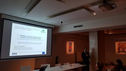 Haris Doukas from NTUA presenting Trade-offs in balancing socio-economic and environmental priorities
