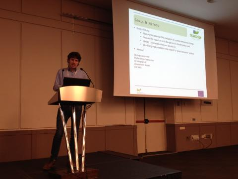 Dirk-Jan van de Ven presenting potential GHG mitigation by behavioural change