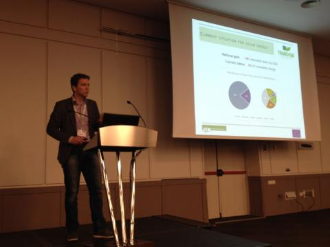 Eise Spijker presenting solar PV development in the Netherlands