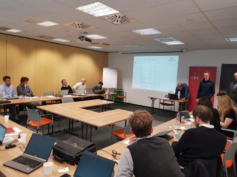 Gabriel Bachner and Andreas Tuerk presenting analysis on the identified uncertainties in the Austrian case study
