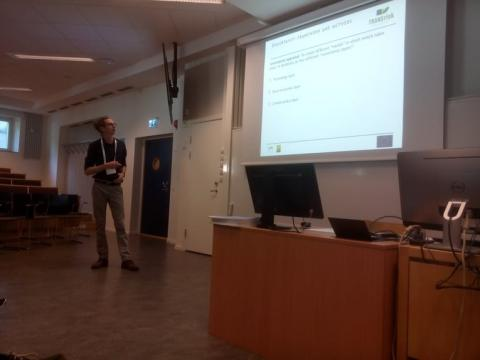 """Dr. Gabriel Bachner (UniGraz) presenting """"The economy-wide effects of deep decarbonization and their uncertainties - The case of the European iron and steel industry"""""""
